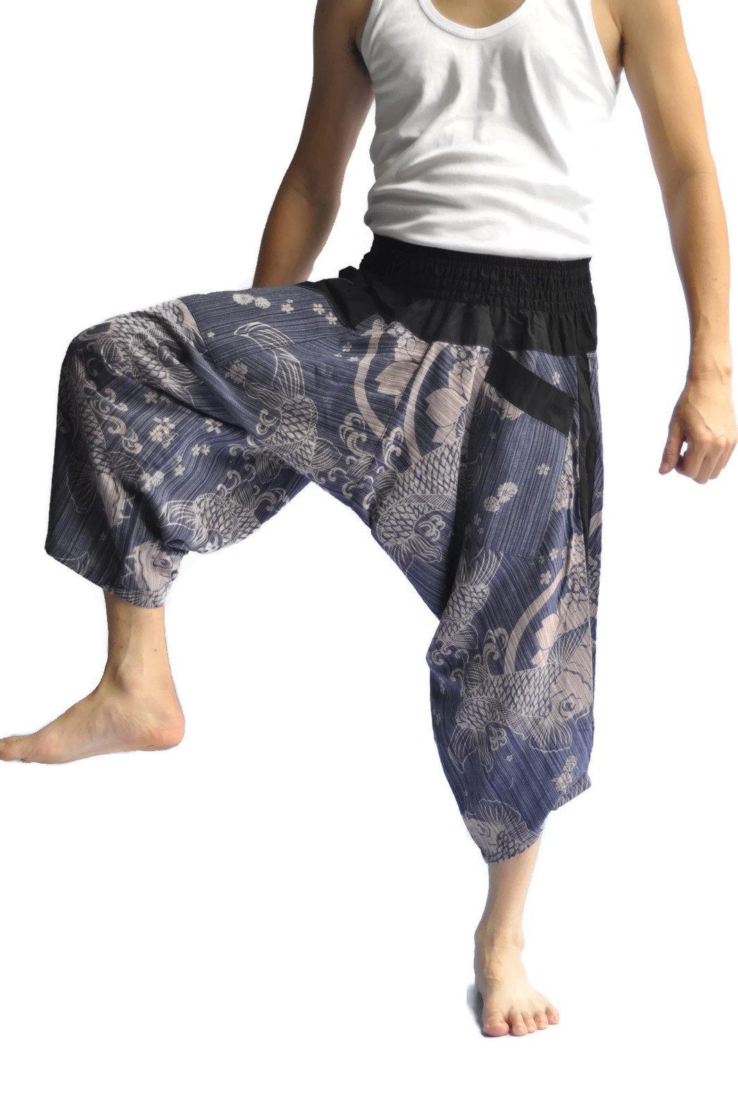 Siam Trendy Men's Japanese Style Pants One Size fish desigh (blue)