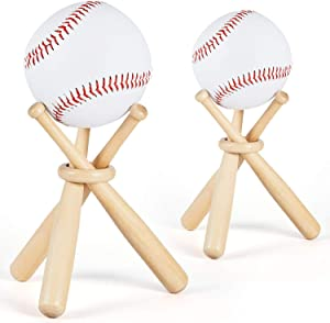 Maitys Wooden Baseball Stand Display Holder with Mini Baseball Bats and Wooden Circles for Baseball Players Fans (2 Sets)
