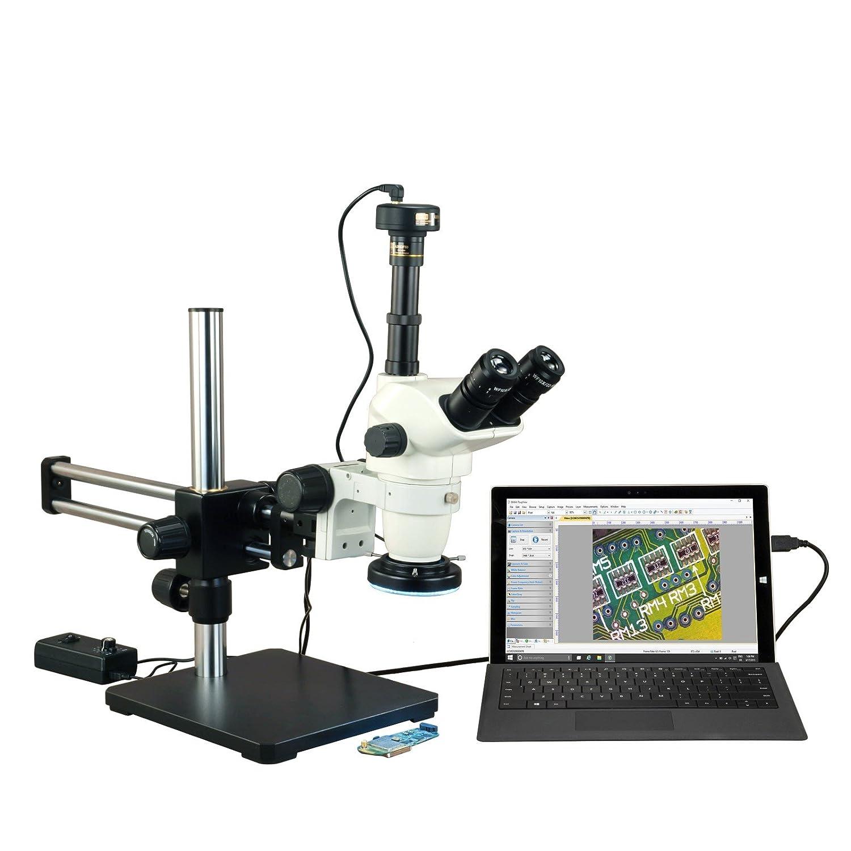 OMAX 6.7X-45Xズーム実体顕微鏡+金属シェル144 LEDリング照明+ 9.0MPカメラ+デュアルバーブームスタンド   B00NSV15RA