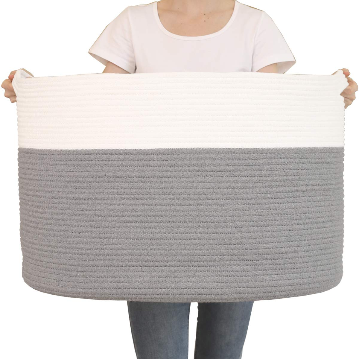"""24"""" x 24"""" x 17"""" Max Size Large Cotton Rope Basket, Extra Large Storage Basket, Woven Laundry Hamper, Toy Storage Bin, for Blankets Clothes Toys Towels Pillows in Living Room, Baby Nursery, Grey"""