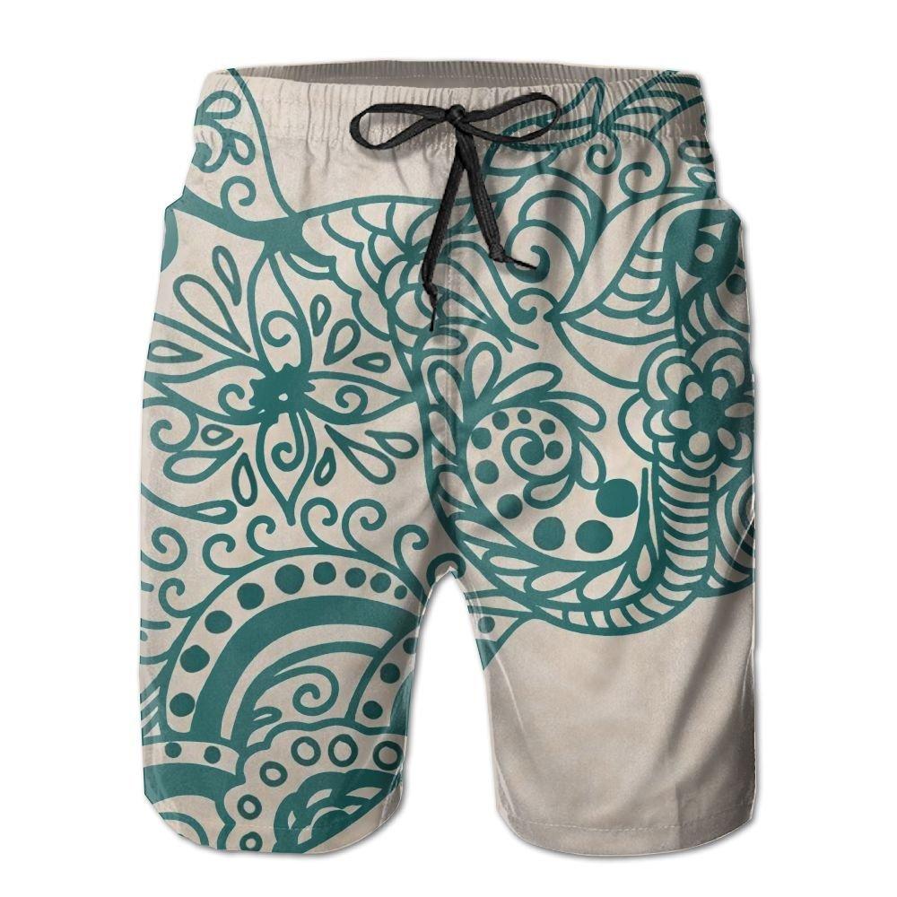 B-xww Men's Summer Surf Swim Trunks Beach Shorts Pants Quick Dry Pockets