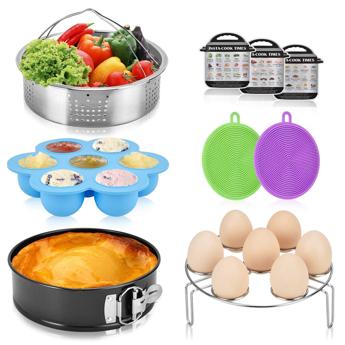 Accessories Set for Instant Pot Fit 6 Qt 8 Quart InstaPot Pressure Cooker. Steamer Basket, Egg Steamer Rack, Egg Bites Molds, Non-Stick Springform Pan, Silicone Dish Sponge and Magnetic Cheat Sheets by Will Well