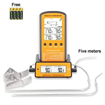 TOROAST Termómetro inalámbrico digital| Termometro Digital de Cocina| Termómetro de Barbacoa| Carne de Termómetro| Termometro Horno| 300 Pies| Alarma de ...