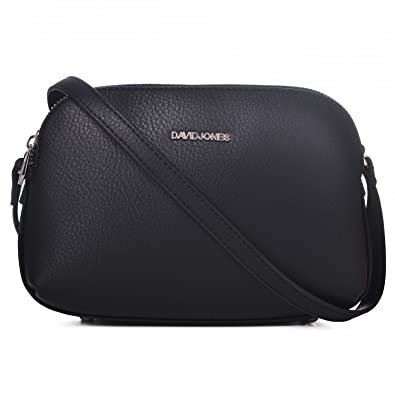 d8022a9c4c3e94 DAVIDJONES Women Cross-Body Bags 3 pocket Black Leather Shoulder Bag Small