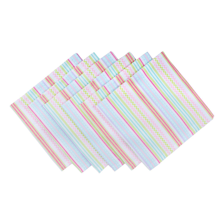 DII 100% Cotton, Machine Washable, Oversized Basic Everyday 20x20 Napkin Set of 6, Spring Zig Zag