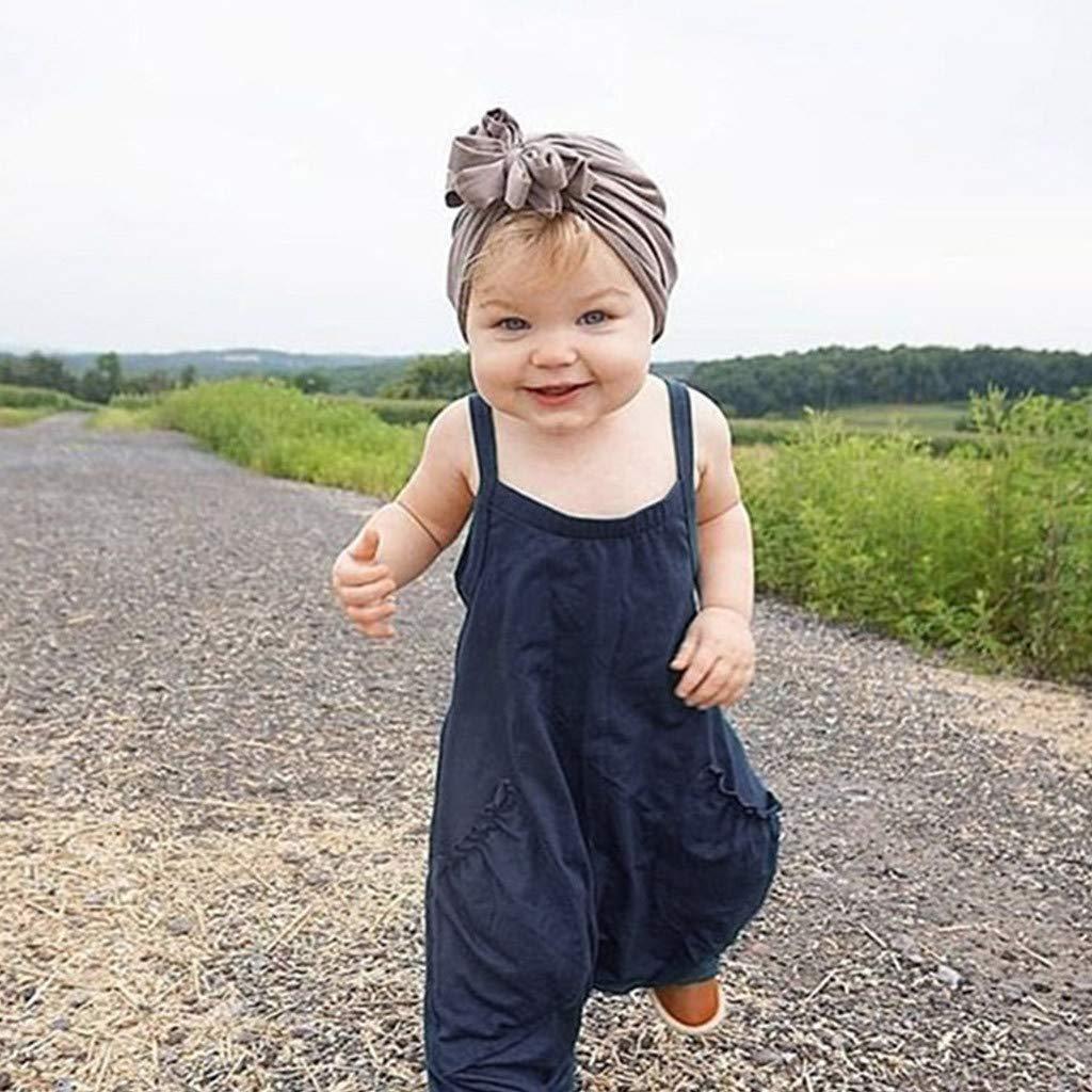 SSZZoo Summer Newborn Baby Girls Onesies Bodysuit Strap Solid Pocket Overalls Romper Jumpsuit