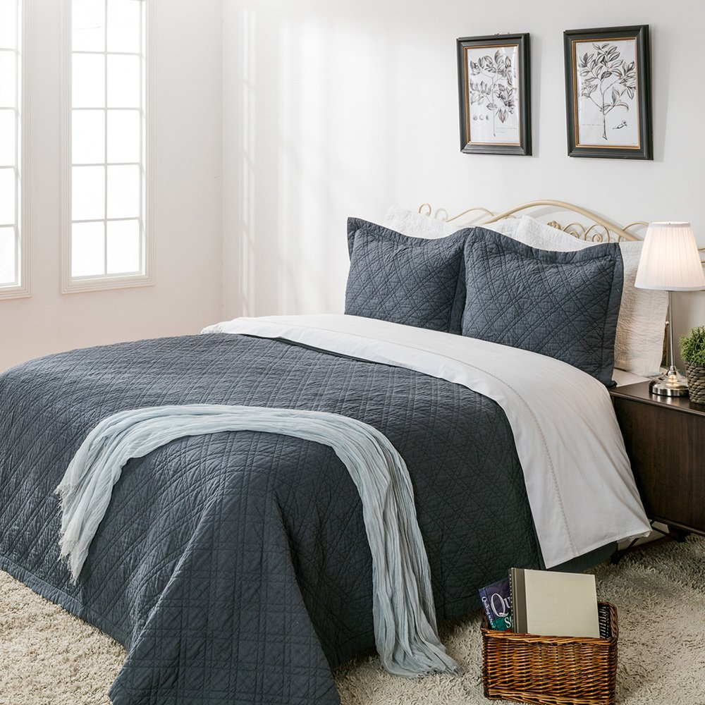 """Elegant Life All-season Minimal Linen &Cotton Diamond Stitching Bed Quilt Solid Colored Twin Size Quilts, 65""""x88"""", Dusty Blue"""