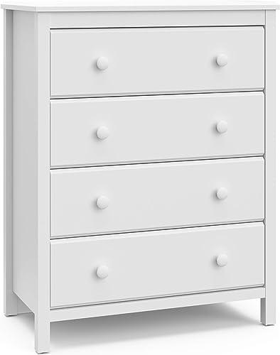 Storkcaft Alpine 4 Drawer Dresser White | Stylish Storage Dresser Chest