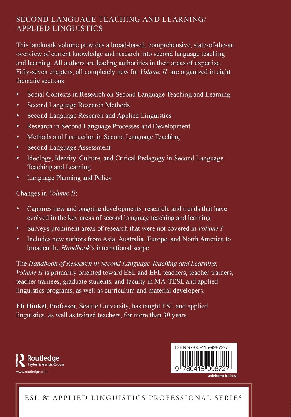 Handbook of Research in Second Language Teaching and Learning: Volume 2 (ESL & Applied Linguistics Professional Series) by Routledge