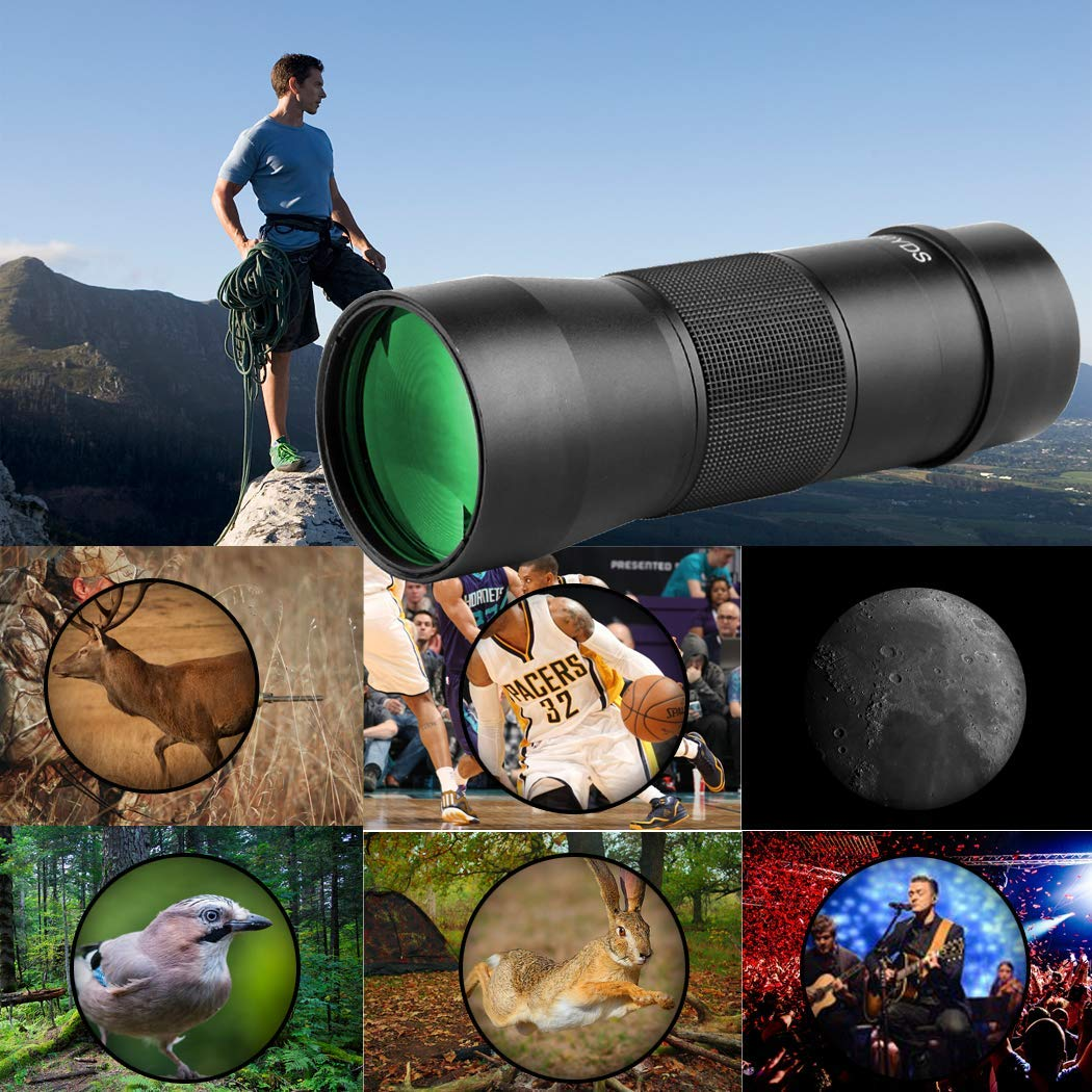Gosky 10x42 Metal Monocular Telescope, Handy Ultra HD Monocular for Bird Watching Sports Travelling Camping Hiking Hunting and Outdoor Activities (Black) by Gosky (Image #4)