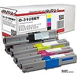 OBV - 4x Cartouche Toner compatible pour OKI C310 / C330 / C510 / C530 / MC351 entre autres / noir, cyan, magenta, jaune