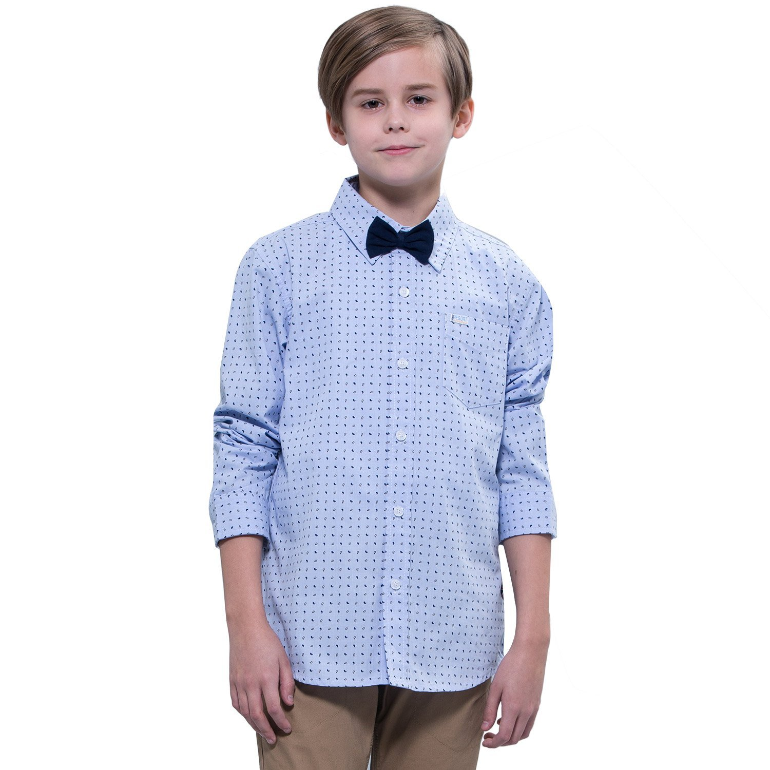 Leo&Lily boys'Kids Casual Dressing Blue Print Woven Button Down Shirts (12)