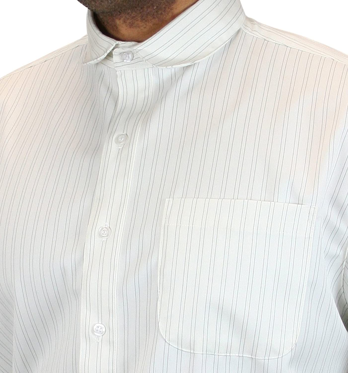 Edwardian Men's Shirts & Sweaters Mens Striped Virgil Club Collar Dress Shirt $59.95 AT vintagedancer.com