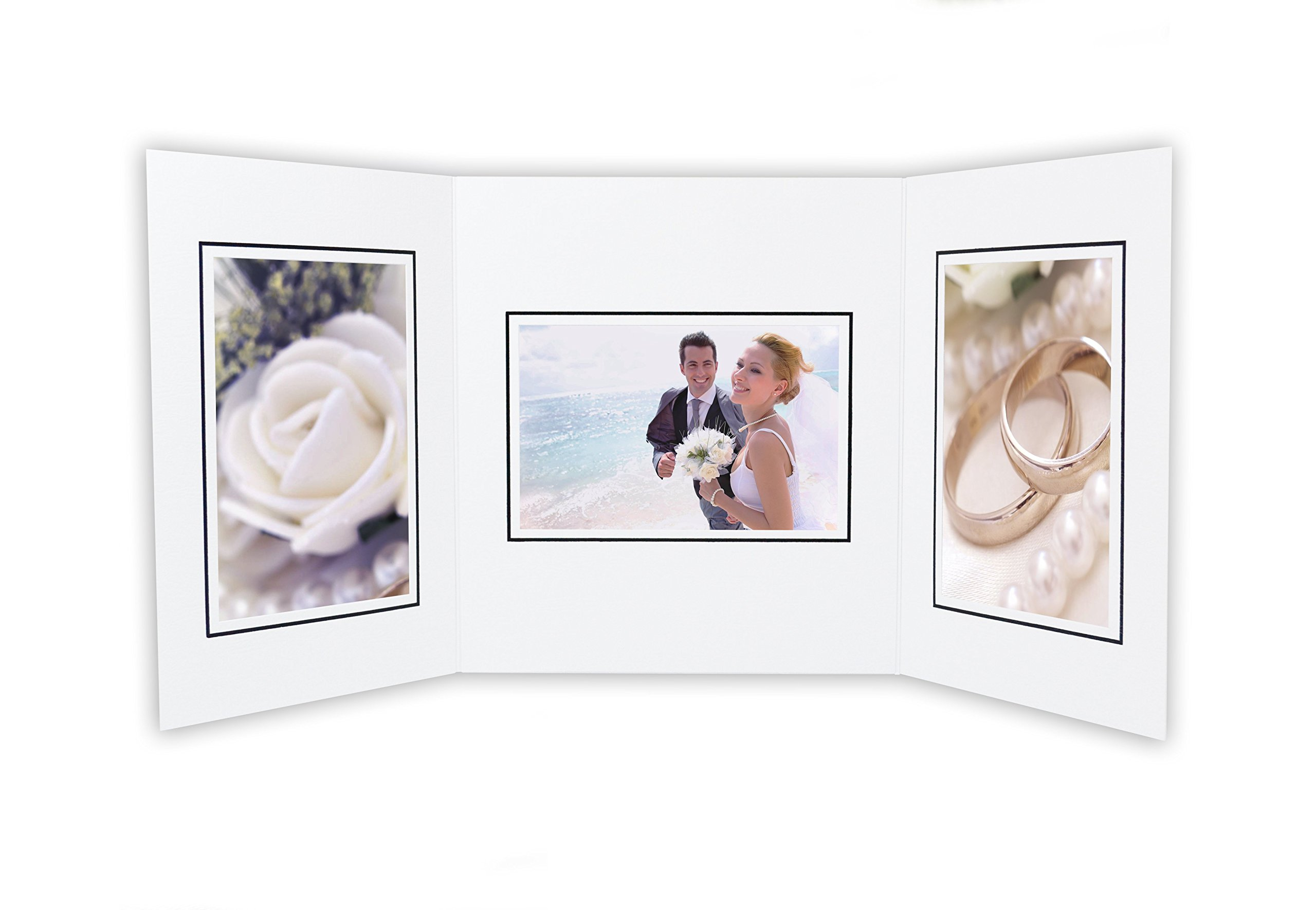 Golden State Art, Cardboard Photo Folder For 3 4x6 Photo (Pack of 50) GS002 White Color