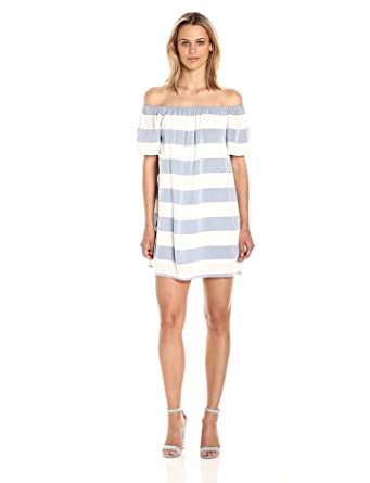 11fa42373df BB Dakota Women's Kash Striped Off The Shoulder Dress at Amazon ...