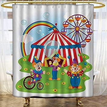 Amazon.com: Cortinas de ducha de tela de circo ...