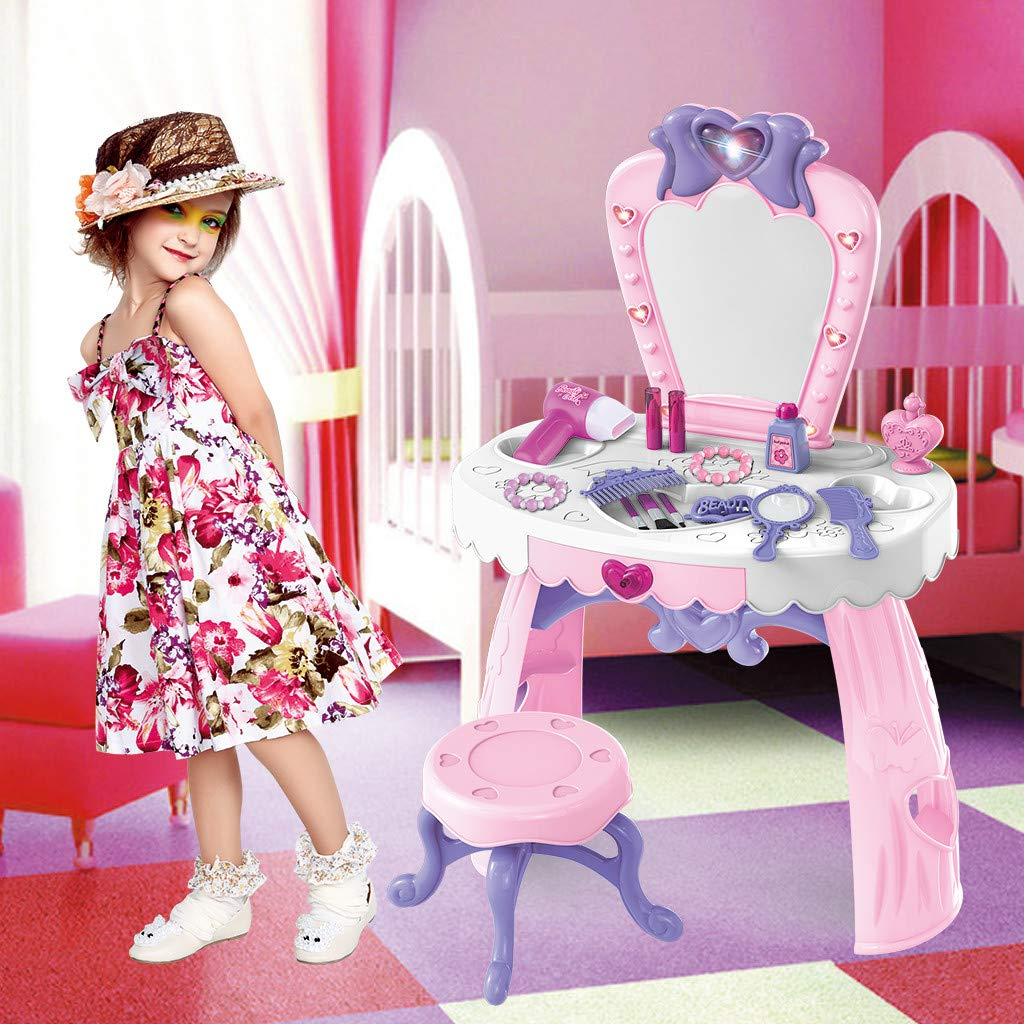 m·kvfa Toddler Fantasy Vanity Beauty Dresser Table Play Set with 7.5'' Stool and Fashion Makeup Accessories for Girls 5 Different Music Switched Pretend Toy by *m·kvfa* Dollhouse