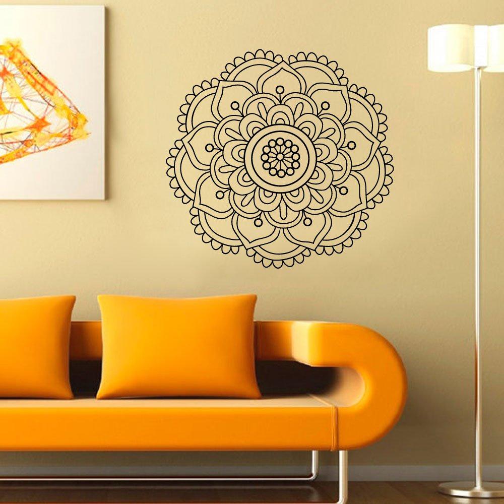 Amazon.com: Mandala Wall Decal Lotus Flower Indian Decor Geometric ...