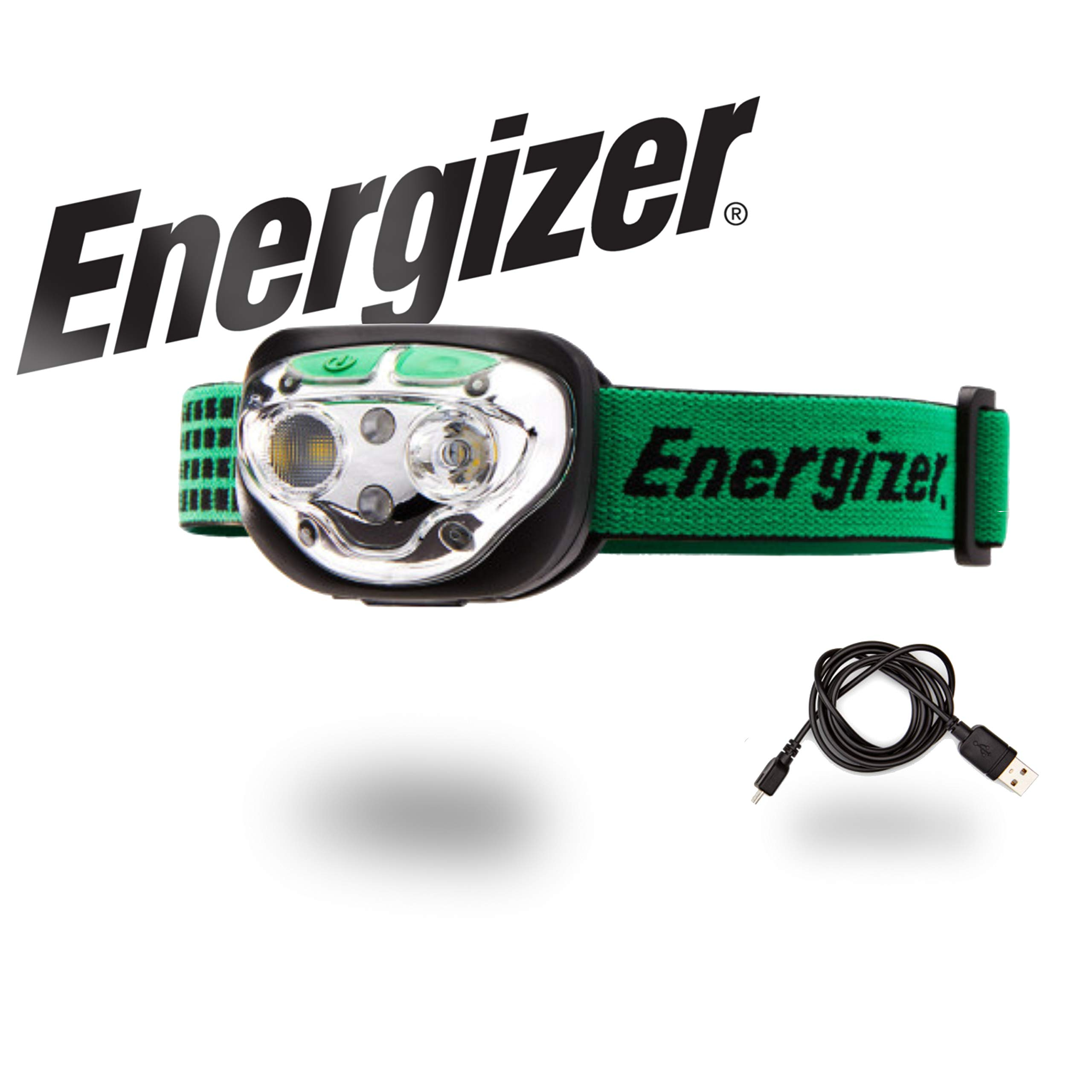 Energizer LED Headlamp Flashlight, High Lumens, for Camping, Running, Hiking, Sports, Outdoor Head Lamp, Rechargeable Headlamp Option, Water-Resistant Headlight
