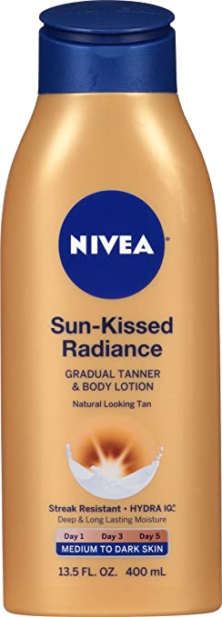 NIVEA Sun-Kissed Radiance Medium to Dark Skin Gradual Tanner & Body Lotion 13.5 Fluid Ounce