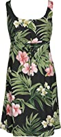 RJC Womens Pale Hibiscus Orchid Empire Tie Front Short Tank Dress in Black - L
