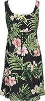 RJC Womens Pale Hibiscus Orchid Empire Tie Front Short Tank Dress in Black - 1X Plus