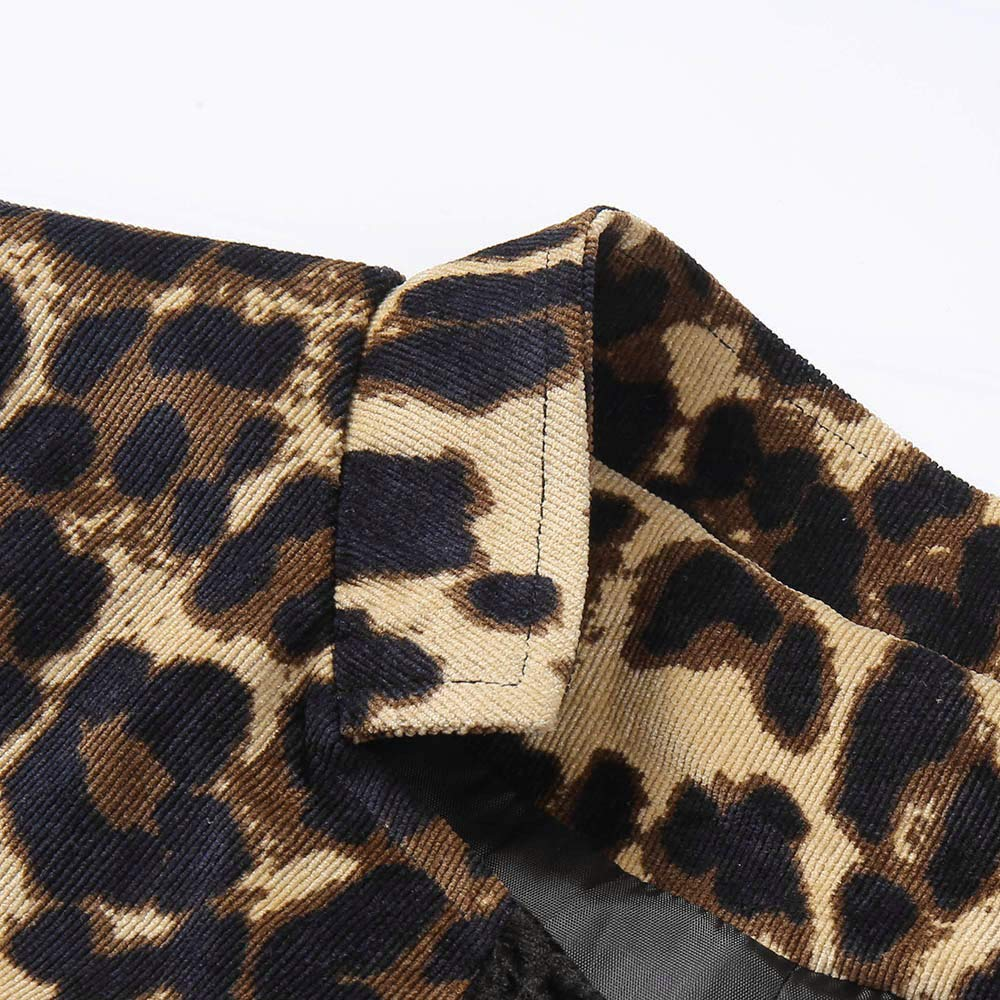 Riou Giacca Donna Leopardo Top Moda Cappotto Donne Elegante Manica Lunga Parka Outwear Jacket Cappotti Donne Casual Cardigan Capispalla Giacche Autunno Invernale da Donna Leopardato Giubbotto