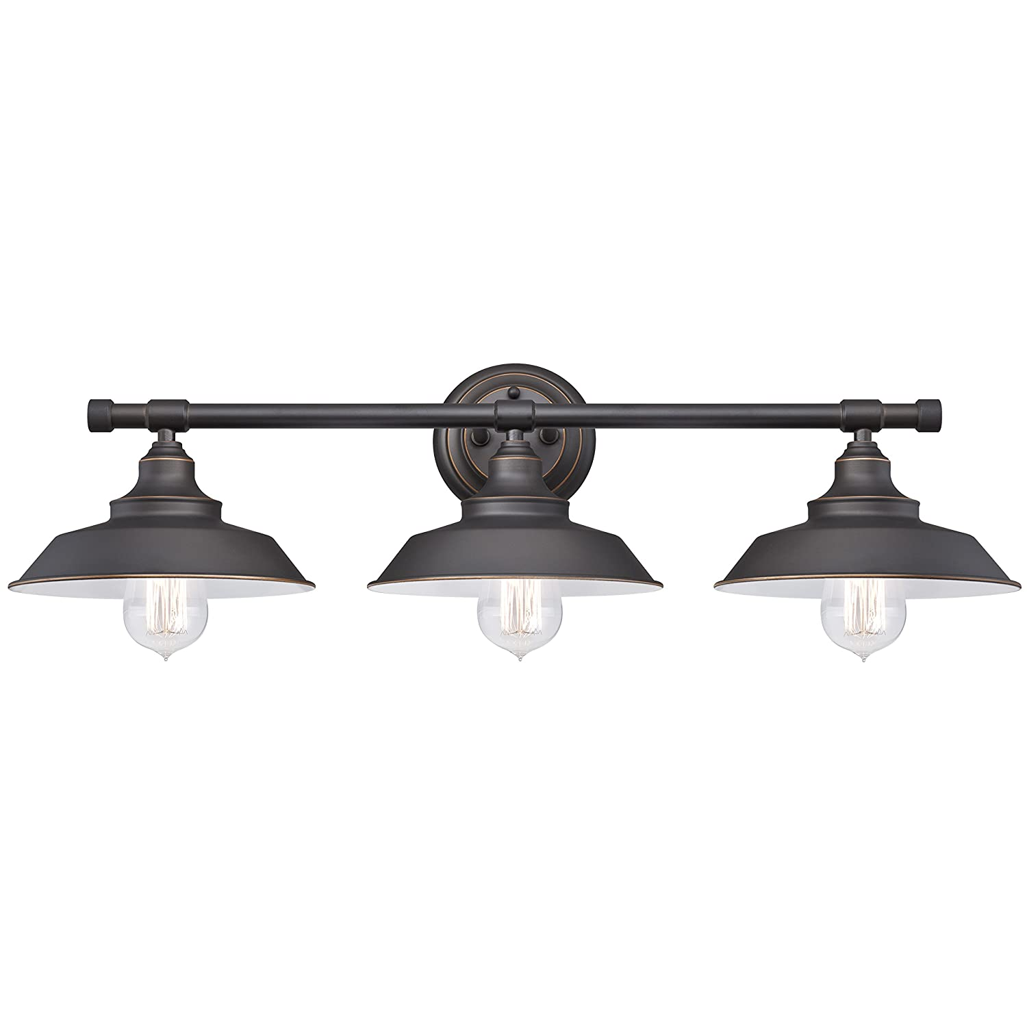 Amazon Com Westinghouse 6343400 Iron Hill Three Light Indoor Wall Fixture Oil Rubbed Bronze Finish With Highlights And Metal Shades Home Improvement