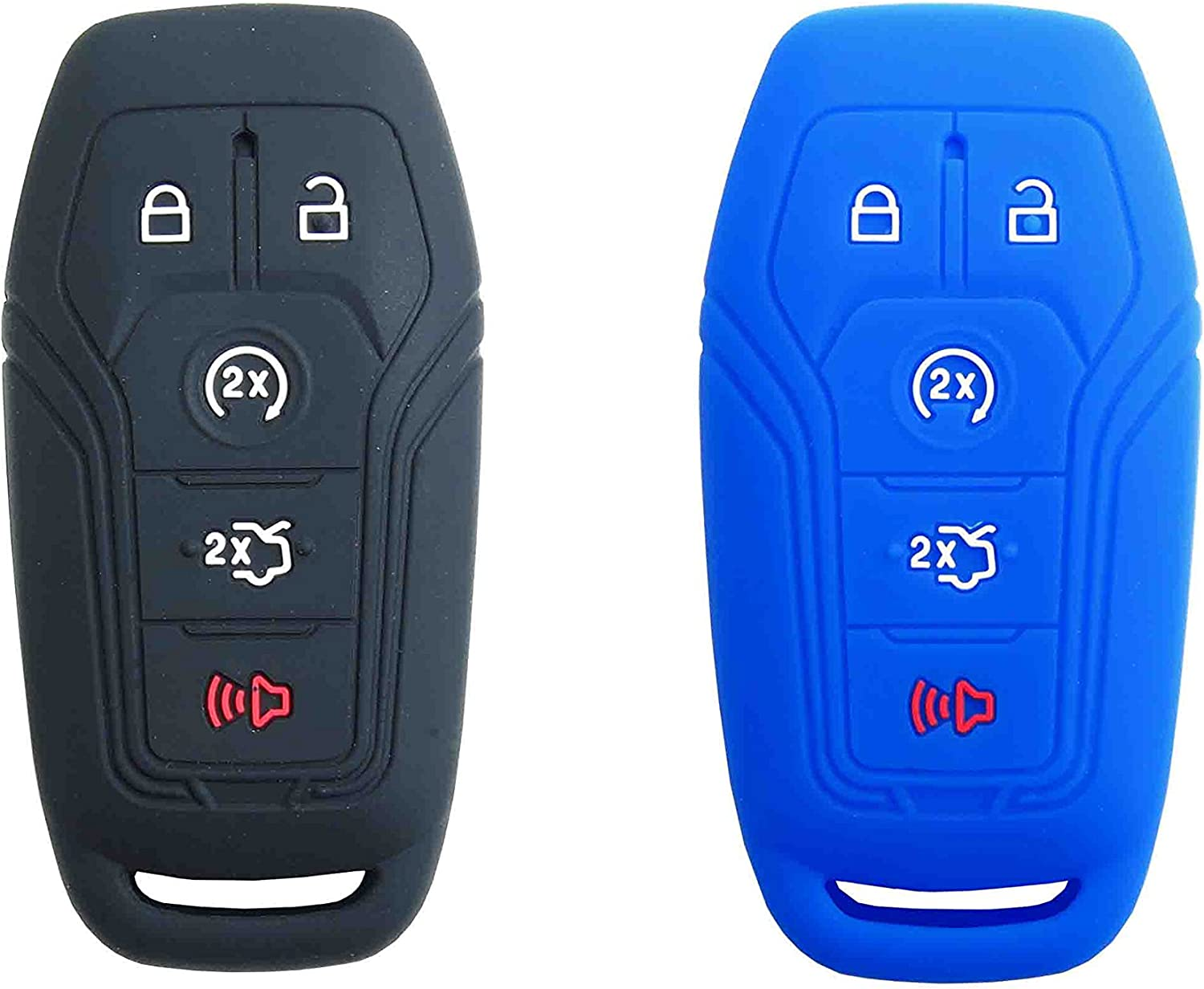 Black+Blue 2Pcs Silicone Key Fob Cover Case Skin Protector for Ford F-150 F150 Fusion Explorer Edge Lincoln MKZ Mustang MKC