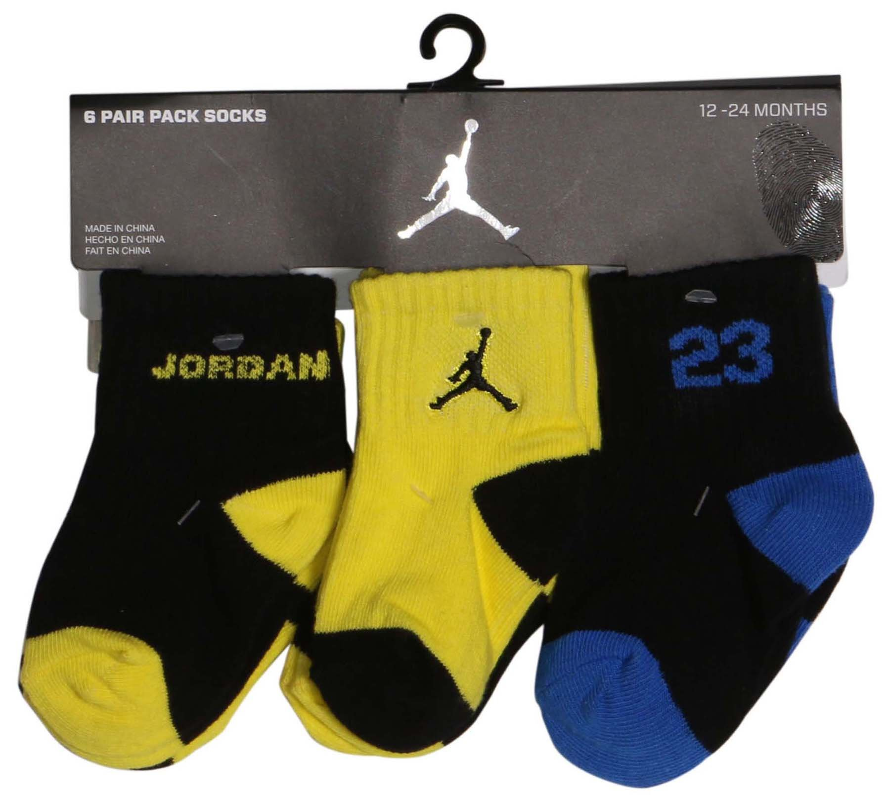 Jordan Jumpman 23 Baby Boys' 6-pair Quarter Crew Socks (12-24 Months, Blue/Yellow)