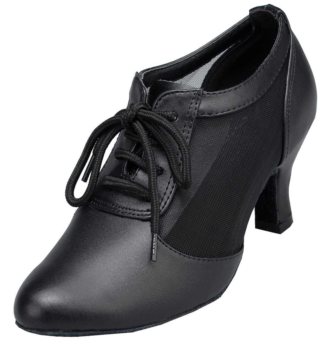 TDA Womens Fashion Lace-up Black Leather Mesh Mid Heel Latin Modern Salsa Tango Ballroom Wedding Dance Shoes 7 M US