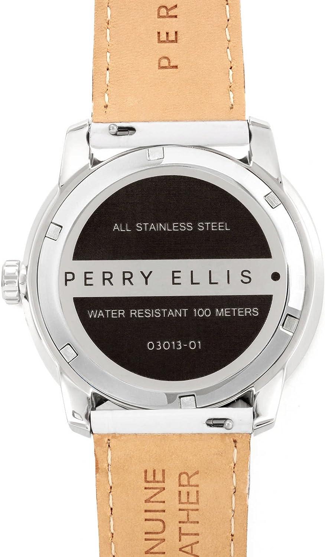Perry Ellis Slim Line Homme Lumineux Quartz Montre étanche avec Bande en Cuir véritable Blanc