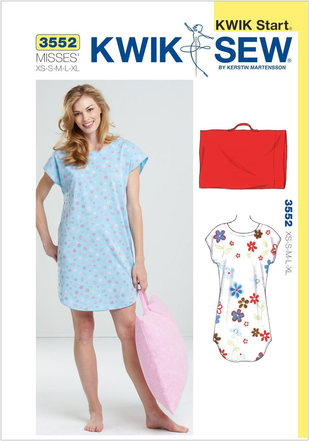 Size XS-S-M-L-XL Kwik Sew K3552 Sleep Shirt and Pillowcase Sewing Pattern