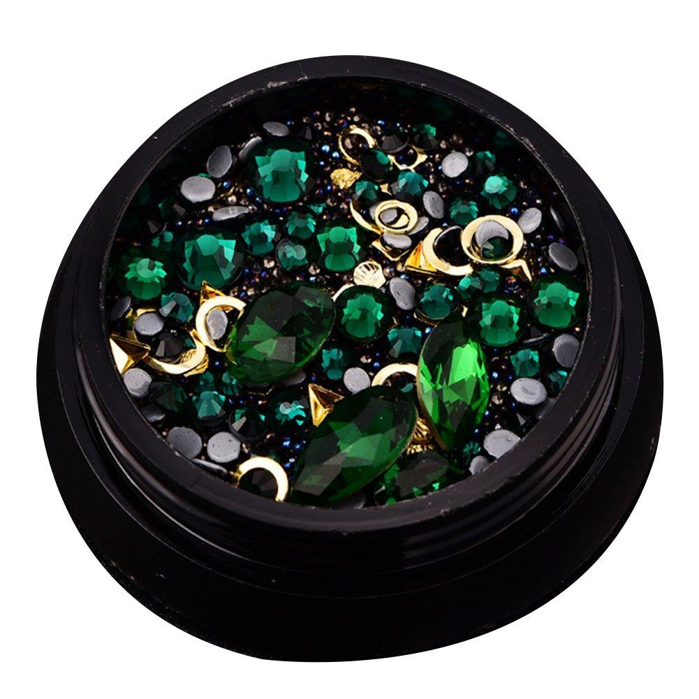 rocita strass d'ongle 3d, cristal d'ongle, Rhinestone de acrylique UV Gel Décoration Bijoux Pour ongle naturel et artificiel clous (Verdor foncé) rocita strass d' ongle 3d cristal d' ongle
