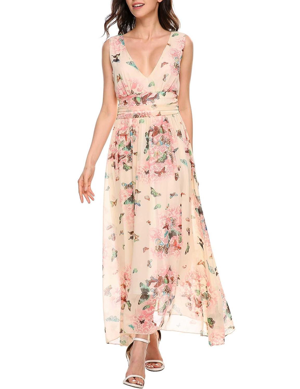 Lonlier Damen Sommerkleider Floral Chiffon Lange Kleid Casual ...
