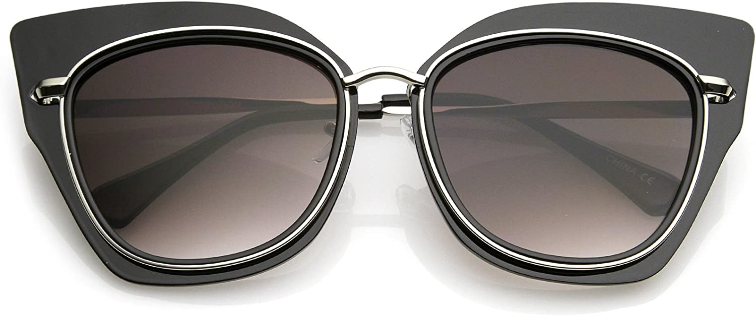 zeroUV - Women's Oversize Cat Eye Sunglasses With Metal Trim Slim Arms And Flat Lens 57mm