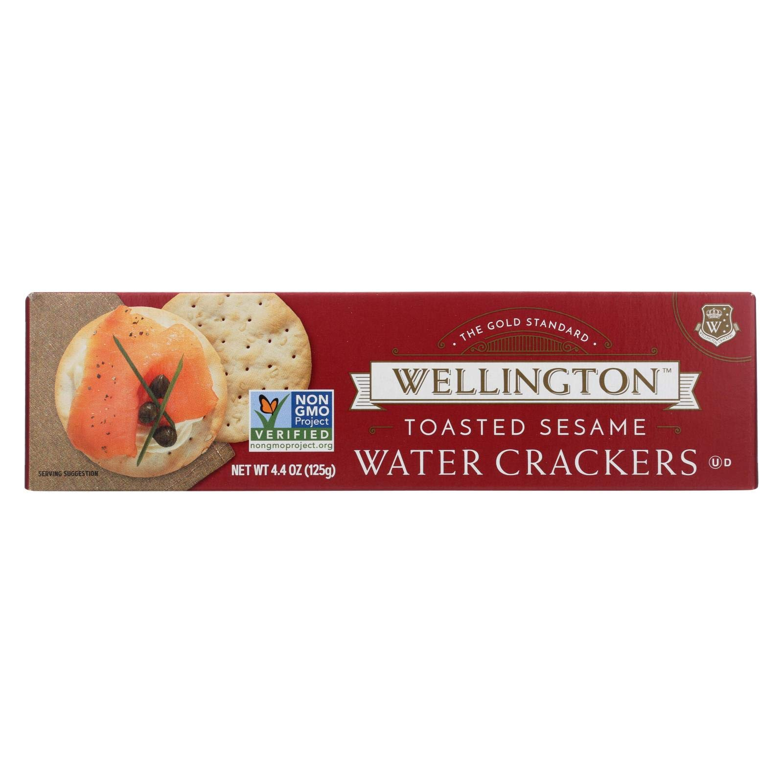 Wellington Toasted Sesame - Water Cracker - Case of 12 - 4.4 oz. by Wellington