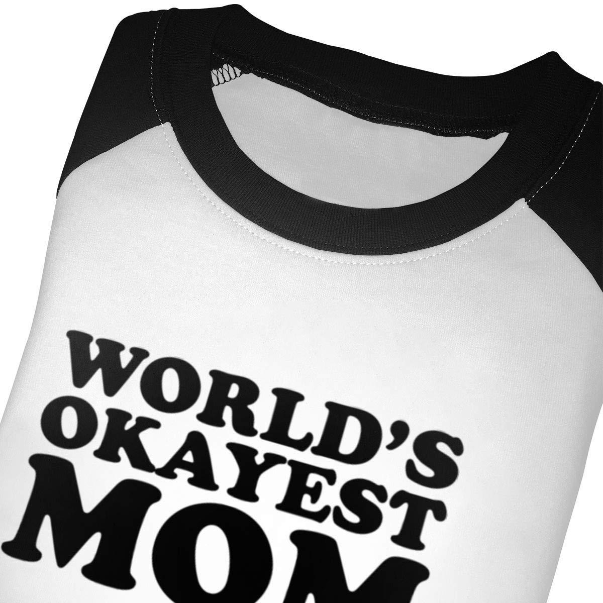 Kocvbng I Worlds Okayest Mom Raglan 3//4 Sleeve T Shirts for Girls Boy