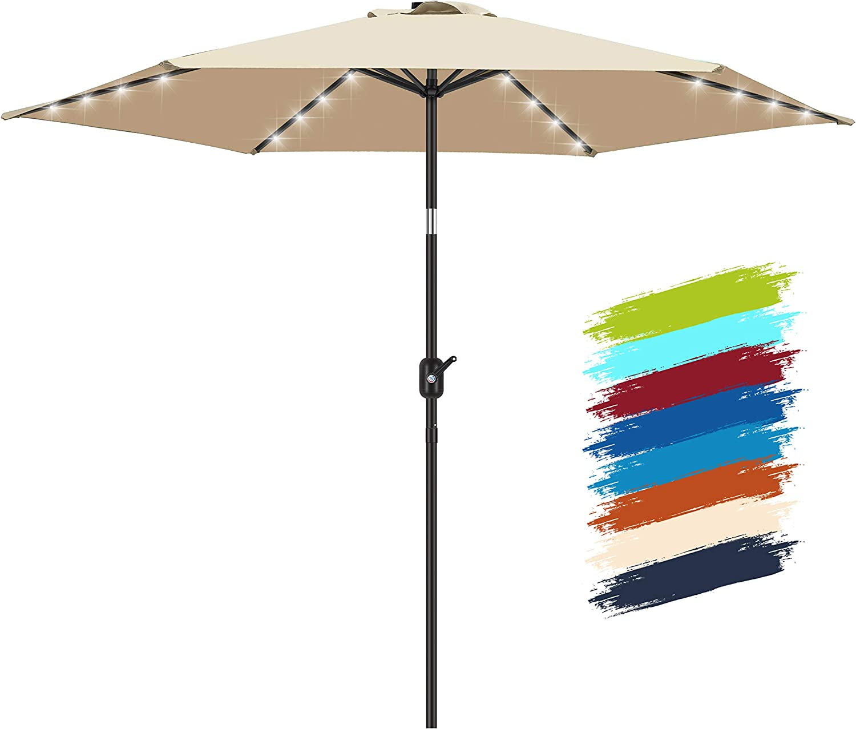 FRUITEAM Solar LED patio Ourdoor market umbrella with LED Lights,Tilt and Crank Table Umbrellas for Garden, Deck, Backyard and Pool(Beige)