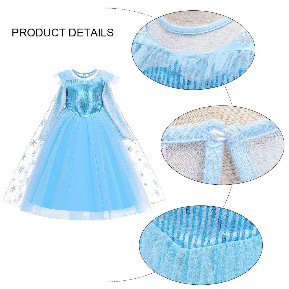 URAQT Vestido de Princesa Elsa Reina Frozen Disfraz Elsa Vestido Infantil Ni/ñas Costume Azul Cosplay de Disfraz de Halloween Cumplea/ños