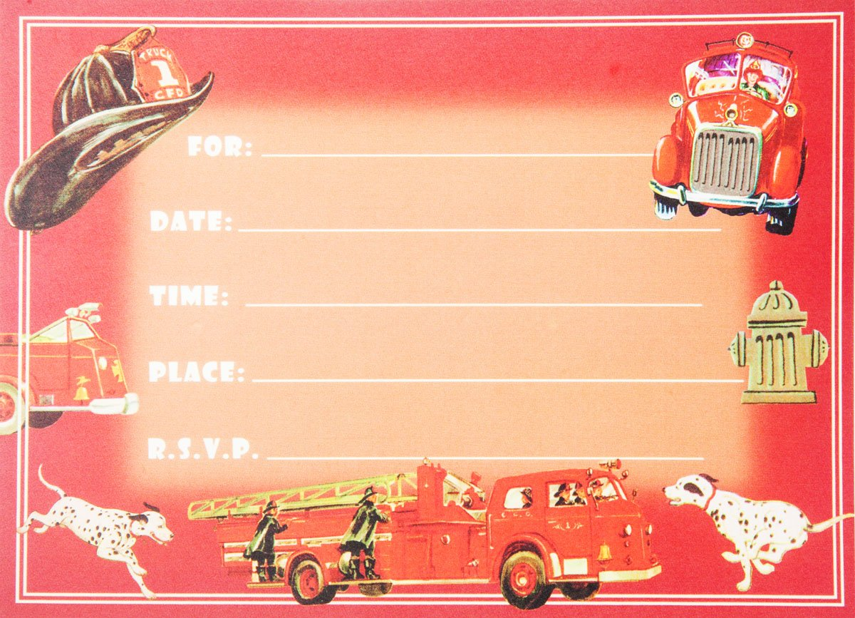 Amazon.com: Dolce Mia Firefighter Birthday Party Invitations Party ...