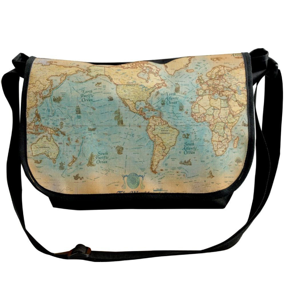 aa797f74652e lovely Unisex Wide Diagonal Shoulder Bag Antique Style World Map ...
