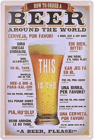 ROSENICE Bi/ère Affiche Poster Plaque en Metal Vintage D/écoration Murale