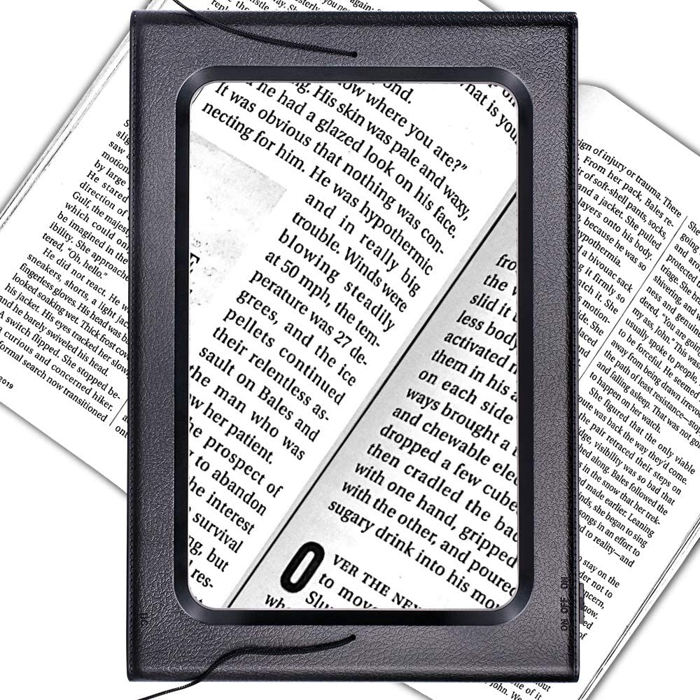 Full Page 3X Magnifying Glass Hands-Free Magnifier with 6 LED Lights Foldable Desktop Reading Magnifier with Dimmable for Reading Small Prints & Low Vision Seniors (USB or Battery)