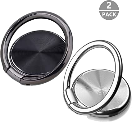 Silver Phone Ring Finger Holder Kickstand Gold,Silver,Black-360 Metal Rotation Compatible with All Smart Phones Magnetic Car Mount Compatible