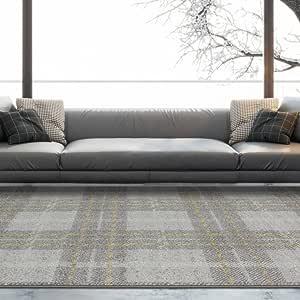 Modern Ochre Yellow Grey Tartan Rugs Soft Warm Geometric Check Living Room Rug
