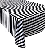 Pack of 8 Plastic Black and White Stripe Print