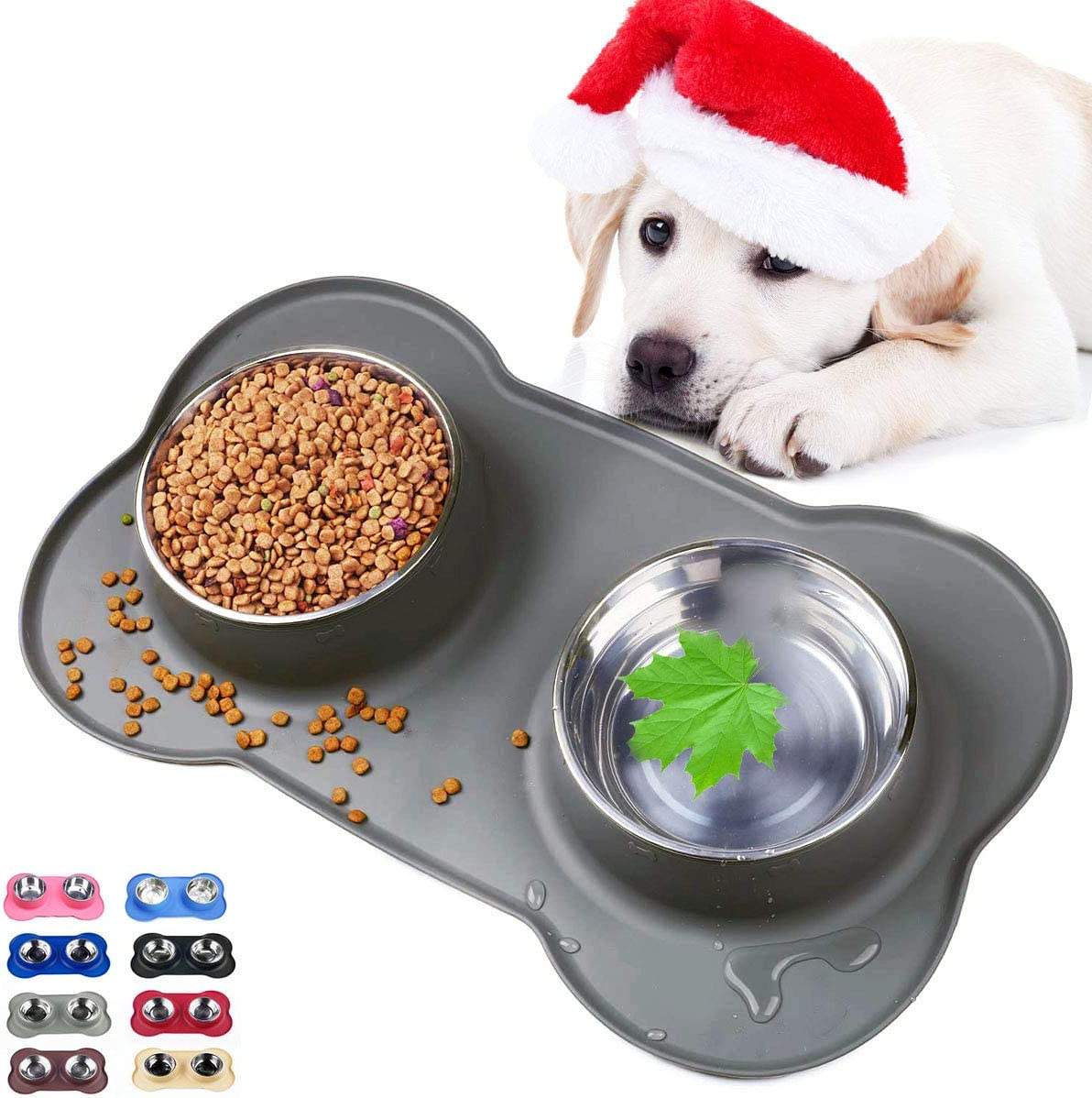 Sequoialake Dog Bowls with Anti-Overflow and Anti-Skid Silicone Dog Food Mat, Stainless Steel Feeder Easy to Clean for Small Medium Large Dogs Cats Pets