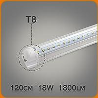 OUBO 18W Néon Tube T8 LED Lampe Intégrée 120cm Lumière Fluorescente Blanc Froid 6500k Transparent abat-jour 2350lm pour maison, parkings, bureau, cuisine, halle, entrepôts, garages etc.