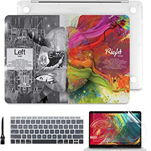 Batianda Case for 2020 2019 2018 MacBook Air 13 inch with Touch ID & Retina Model A2179 A1932 Soft-Touch Matte Clear Hard Shell Cover with Keyboard Cover Skin and Screen Protector, Creative Brain